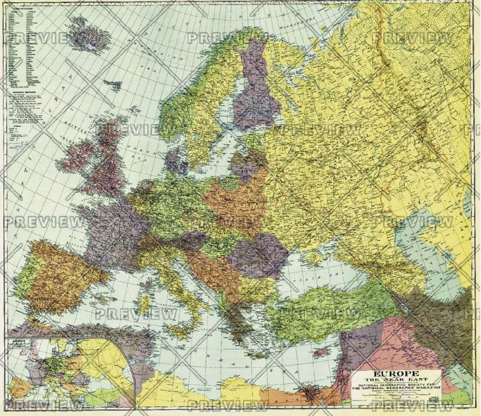 Europe, and the Near East - Published 1929 by National Geographic